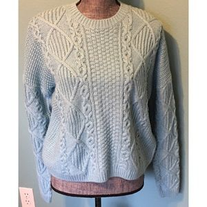 Top Shop Sweater Turquoise Crew Neck 8 Cropped